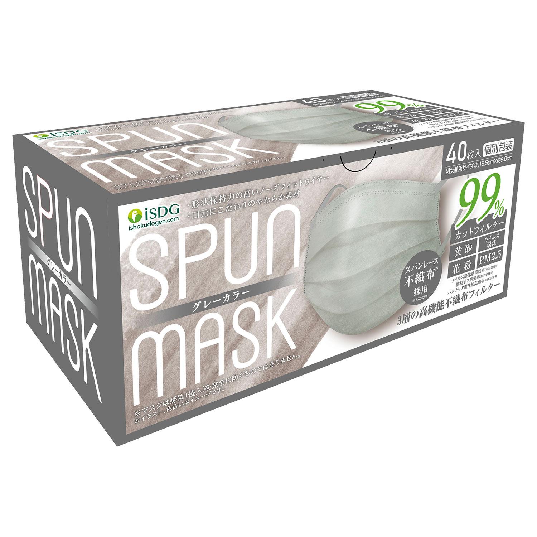 スパンレース不織布カラーマスク(グレー) 40枚入