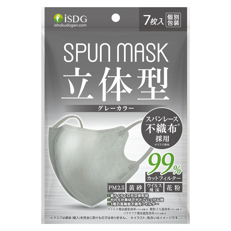 立体型スパンレース不織布カラーマスク(グレー) 7枚入