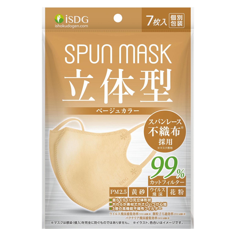 立体型スパンレース不織布カラーマスク(ベージュ) 7枚入