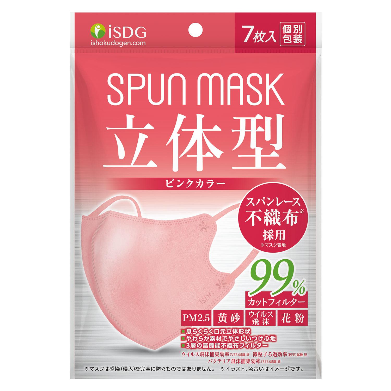 立体型スパンレース不織布カラーマスク(ピンク) 7枚入